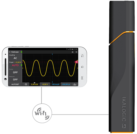 IkaScope wireless oscilloscope connected to smartphone via Wifi